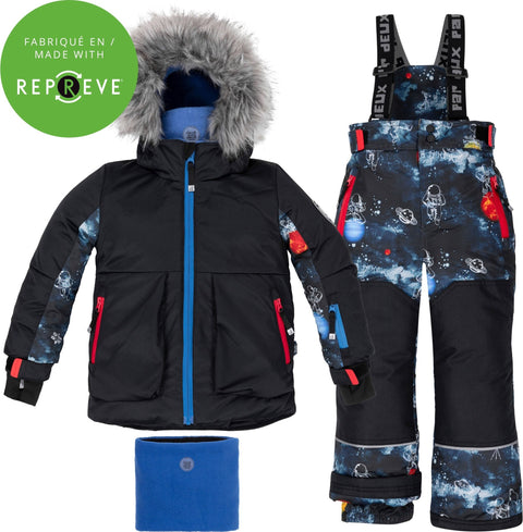 Deux par Deux Printed Interstellar and Black 2-Piece Snowsuit - Boys