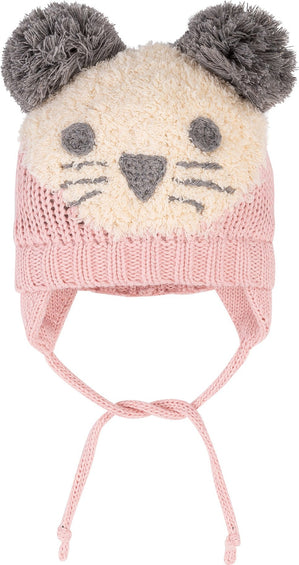 Deux par Deux Light Pink First Snow Lined Wool Hat with Earflaps - Baby