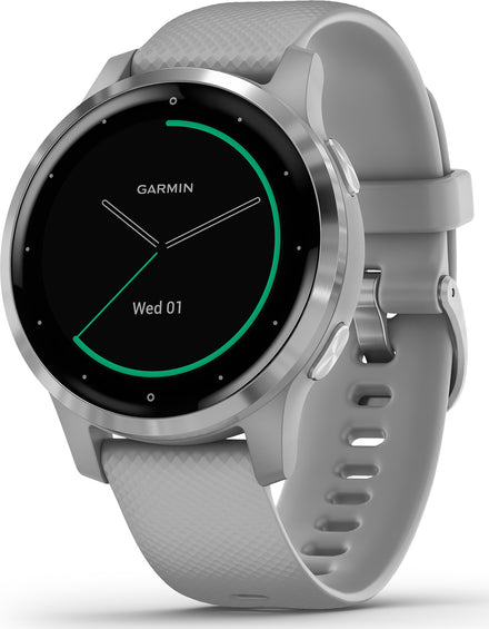 Garmin vívoactive 4S Silver Stainless Steel Bezel with Powder Gray Case and Silicone Band