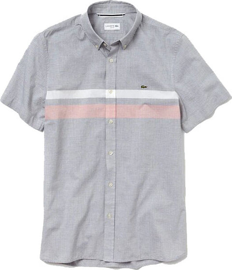 Lacoste Slim Fit Tricolour Striped Cotton Short Sleeves Shirt - Men's