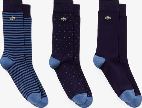 Lacoste Unicolor And Patterned Cotton Blend Sock 3-Pack - Men's
