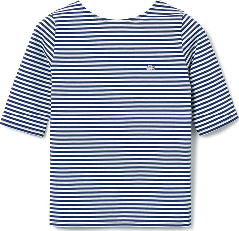 Lacoste Live Open Back Striped Stretch Cotton T-shirt - Women's