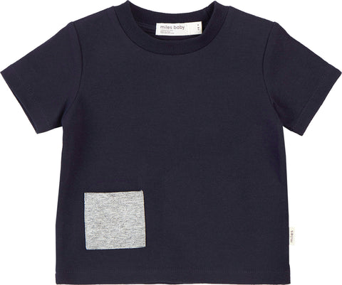 Miles Baby Miles Basic Navy T-Shirt with Contrasting Patch Pocket - Kids