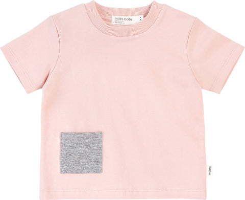 Miles Baby Miles Basic Light Pink T-Shirt with Contrasting Patch Pocket - Kids