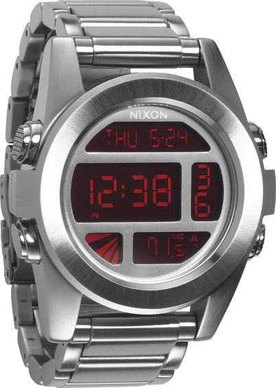Nixon Unit SS Silver/red Watch - Men's