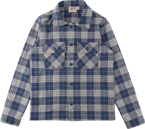 Naked & Famous Chemise Work - Triple Twist Yarn Vintage Flannel - Blue- Men's