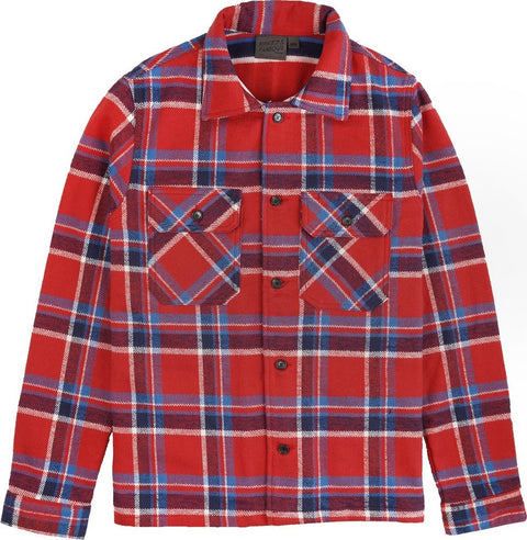 Naked & Famous Work Shirt - Heavyweight Vintage Flannel - Red - Men's
