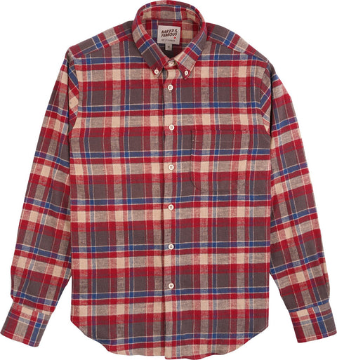 Naked & Famous Easy Shirt - Rustic Nep Flannel - Red - Men's