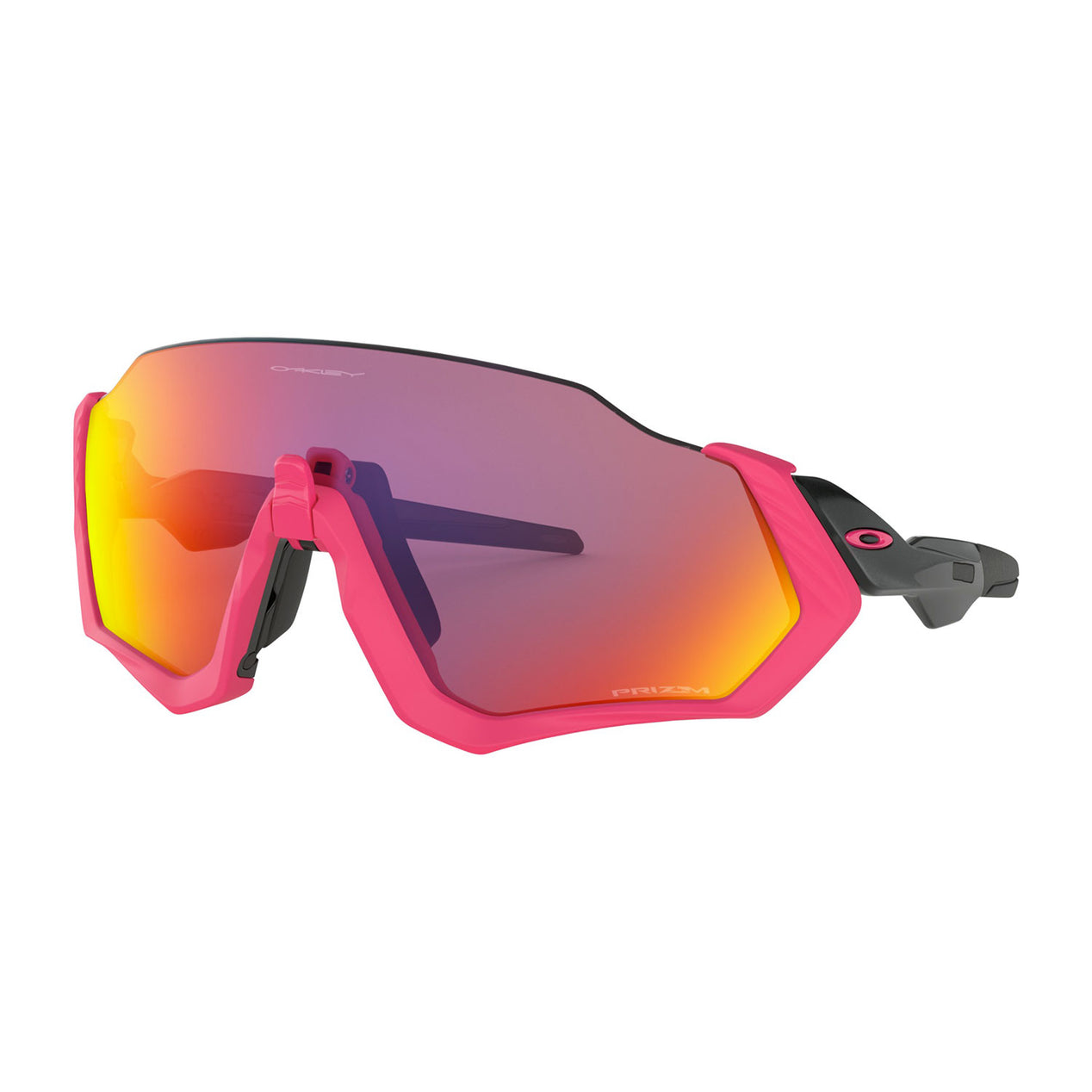 7e9fd01948344 Oakley Flight Jacket - Polished Black Neon Pink - Prizm Road Lens Sunglasses
