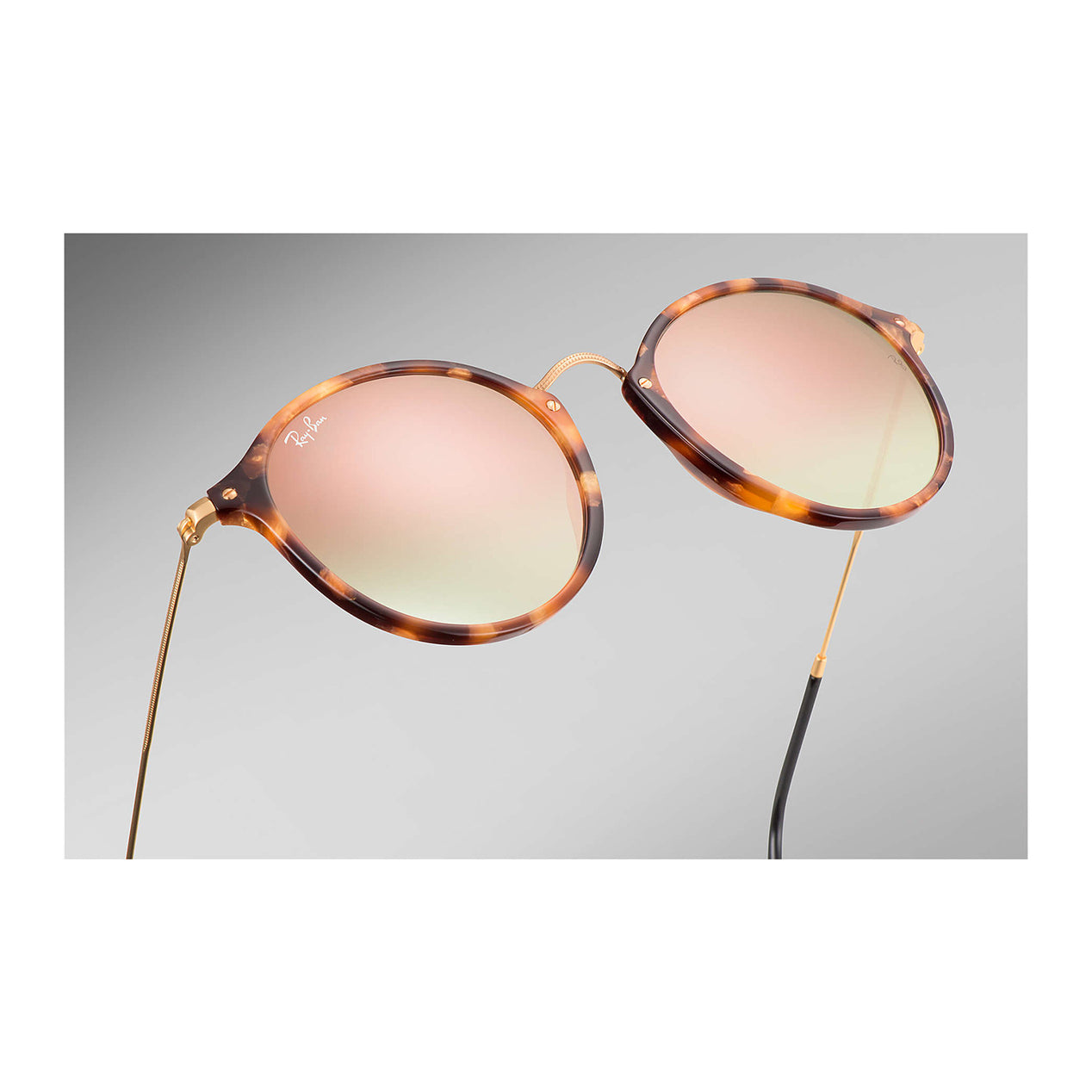 fbc5ad182a ... Round Fleck Sunglasses - Tortoise Black Frame - Copper Gradient Flash  Lens thumb