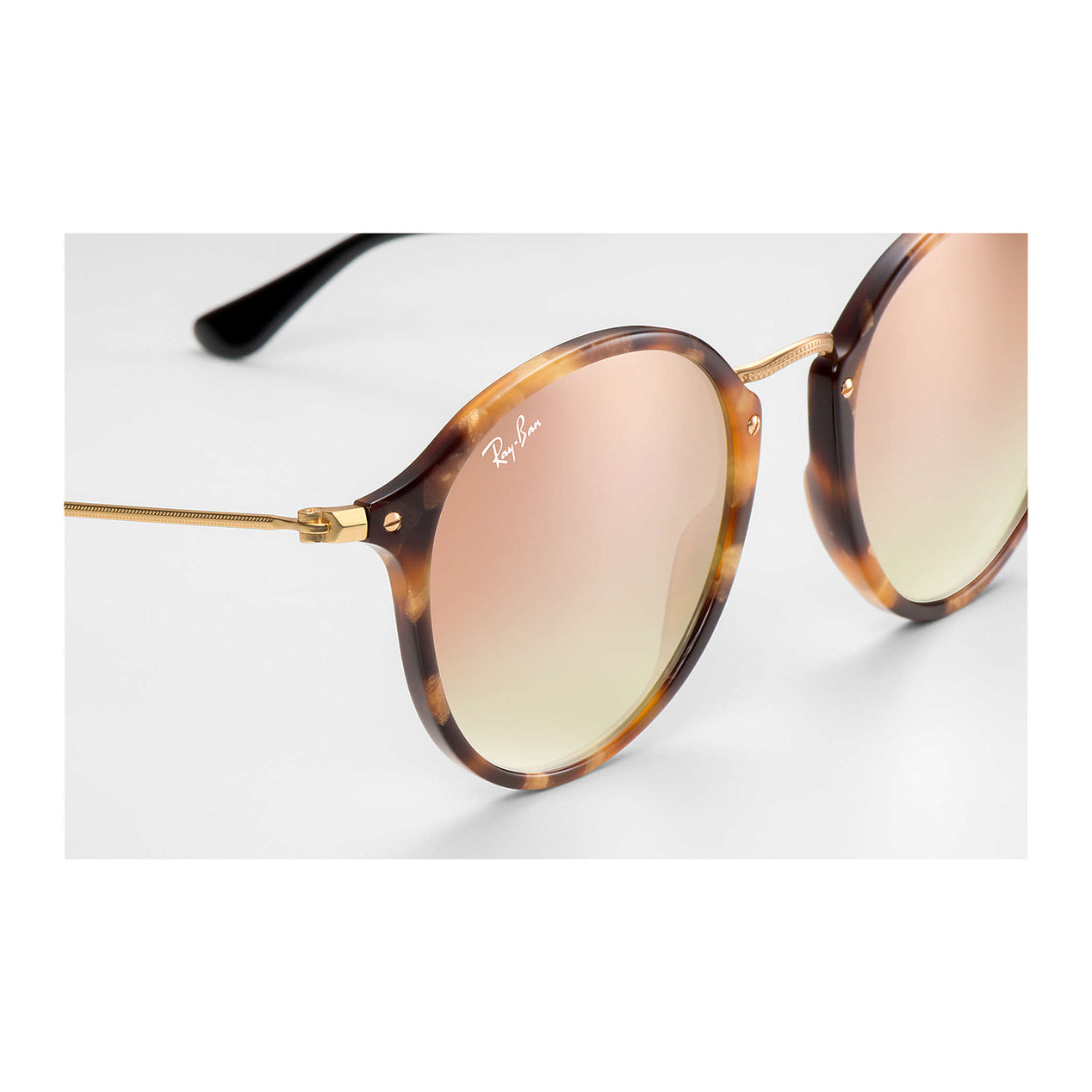 cb79e3f0cb ... Round Fleck Sunglasses - Tortoise Black Frame - Copper Gradient Flash  Lens thumb ...