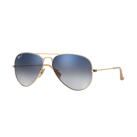 Ray-Ban Aviator Gradient - Gold Frame - Blue/ Grey Gradient Polarized Lens