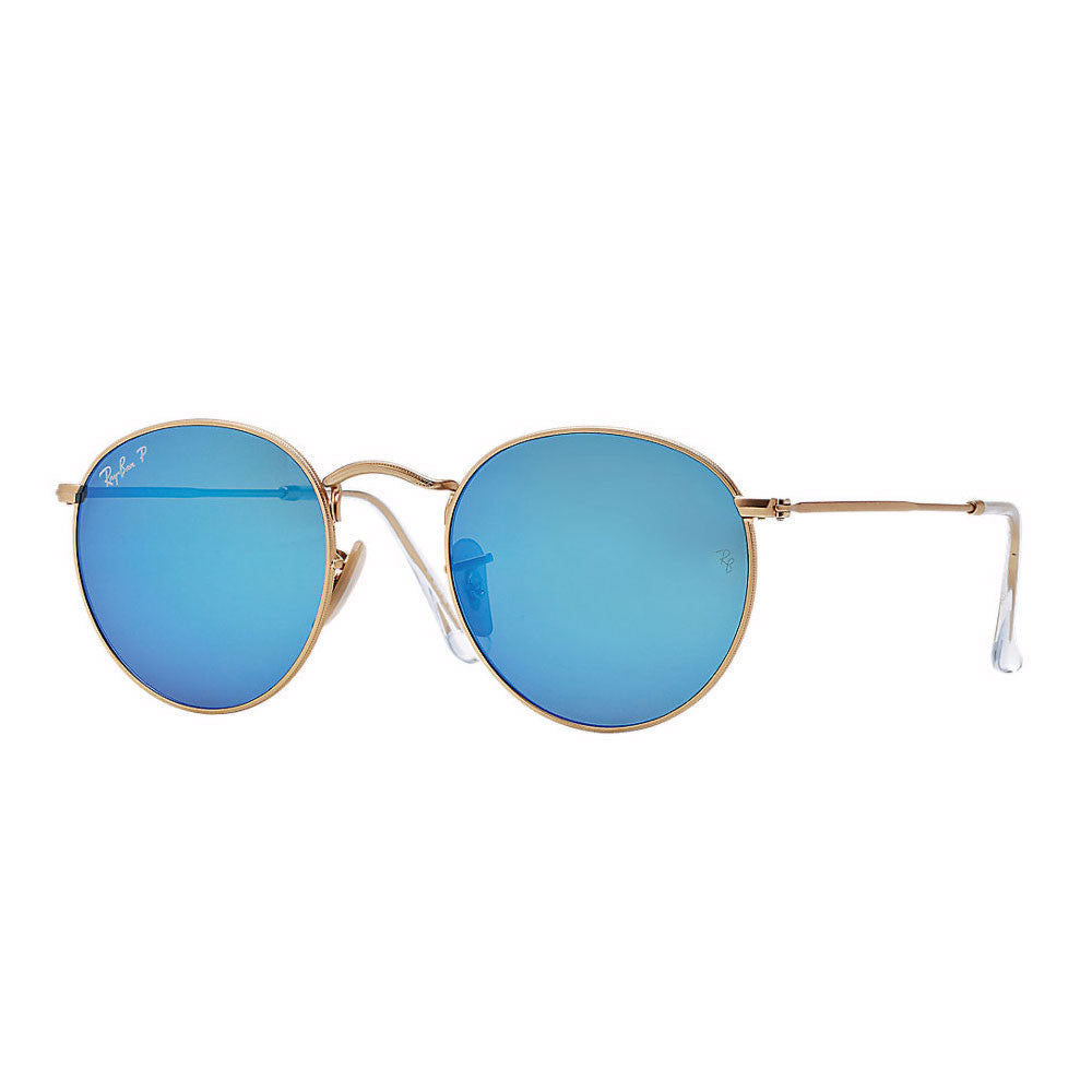 de6d96b1f3 Ray Ban Round Metal - Gold Frame - Polarized Blue Flash Lens ...