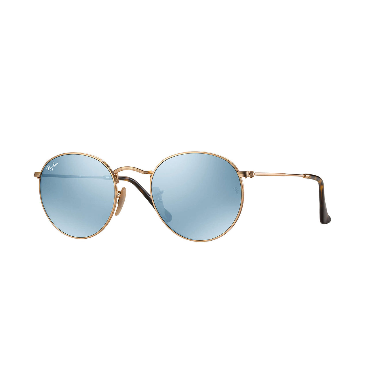Ray Ban Round Flat Lenses - Gold Frame - Silver Flash Lens ...