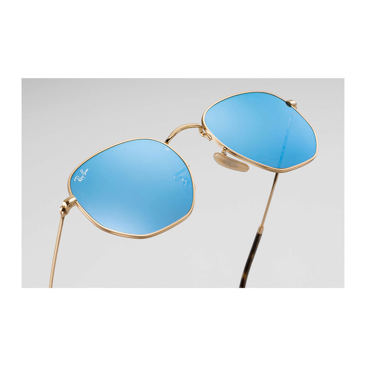 b522adff3d56f ... Hexagonal Flat Lenses - Gold Frame - Light Blue Gradient Lens thumb