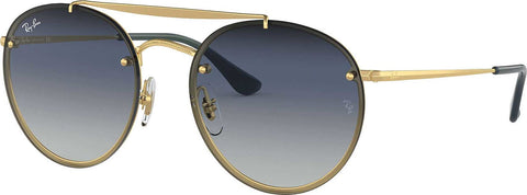 Ray-Ban Blaze Round Double Bridge - Gold - Blue Gradient Mirror