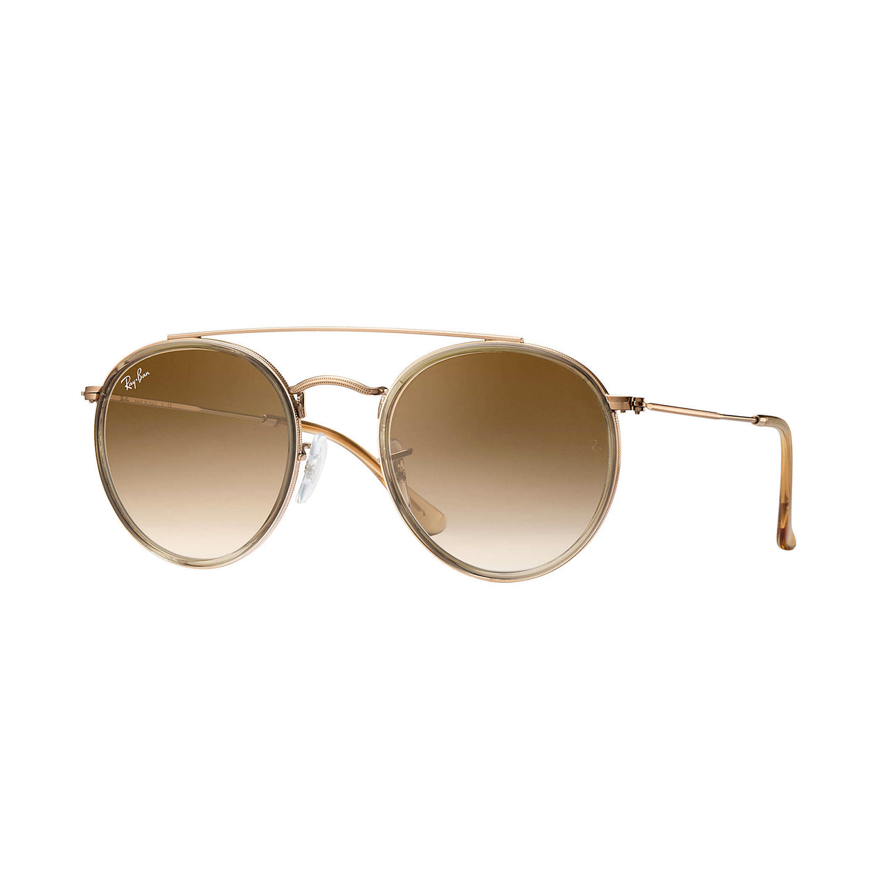 82d9302db6 Ray-Ban Round Double Bridge - Light Brown  Brown Copper Frame - Light Brown  Gradient Lens