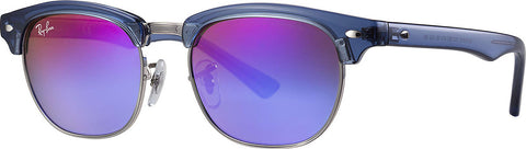 Ray-Ban Clubmaster - Transparent Blue - Green Mirror Blue Gradient Violet  - Kids