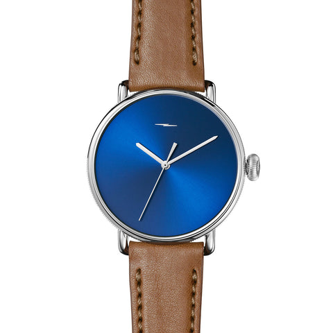 Shinola Men's The Canfield Bolt 42mm - Bourbon Leather Strap + Blue Sunray Dial Watch