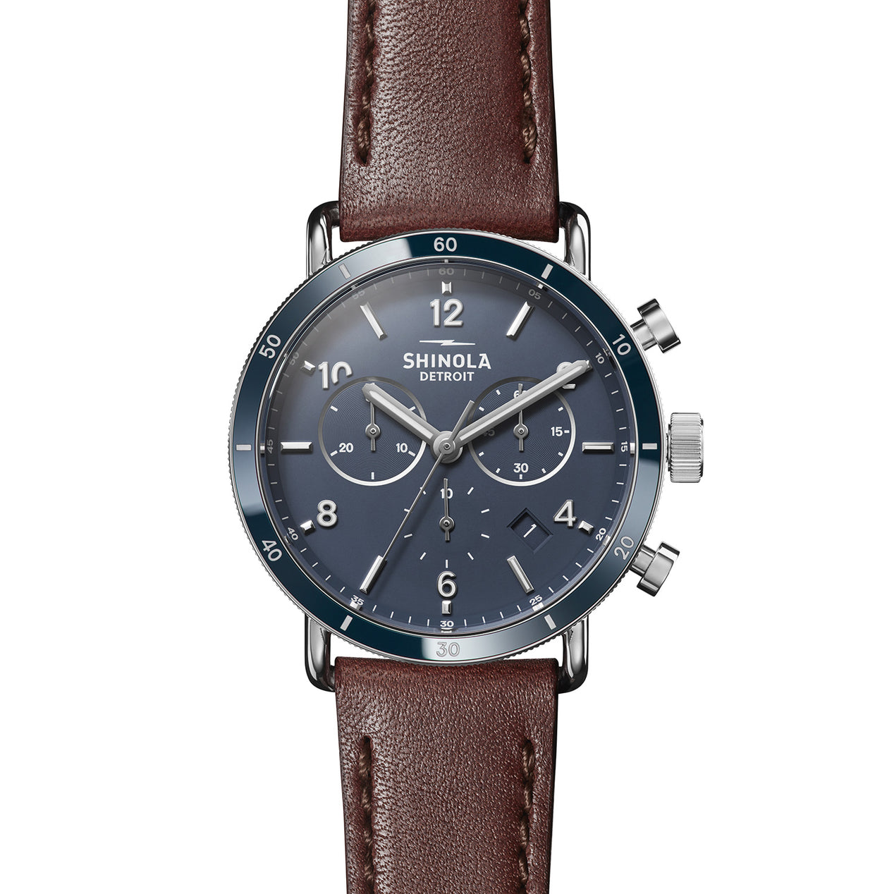 9ec442714 Shinola The Canfield Sport Chrono 40mm - Dark Cognac USA Leather Strap -  Midnight Blue Dial Watch