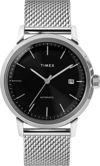 Timex Marlin Automatic 40mm Watch - Stainless Steel Mesh Band - Stainless Steel/Black