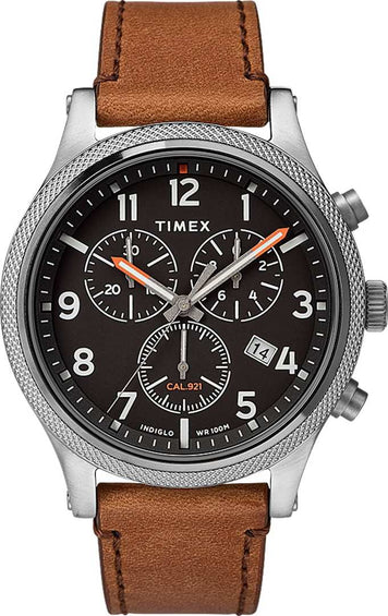 Timex Allied LT Chronograph 42mm Watch - Leather Strap - Silver Tone/Brown/Black
