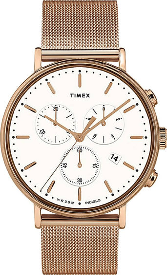 Timex Fairfield Chronograph 41mm Watch - Stainless Steel Mesh Band - Rose Gold Tone/White
