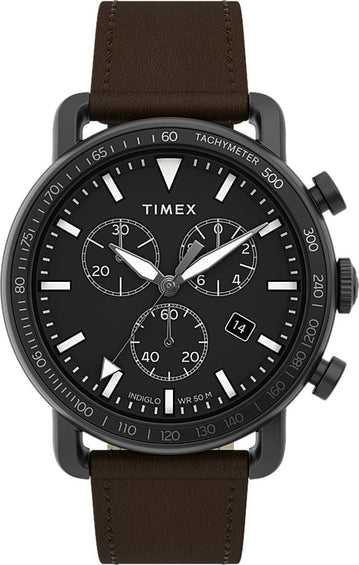 Timex Port Chronograph 42mm Watch -  Leather Strap - Black/Brown
