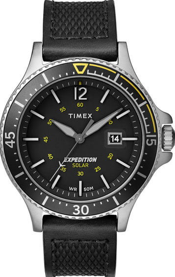 Timex Expedition Gallatin Solar 43mm Watch - Leather Strap - Black/Silver-Tone/Black