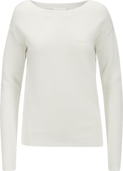 Lacoste Boat Neck Seed Stitch Cotton Sweater - Women's