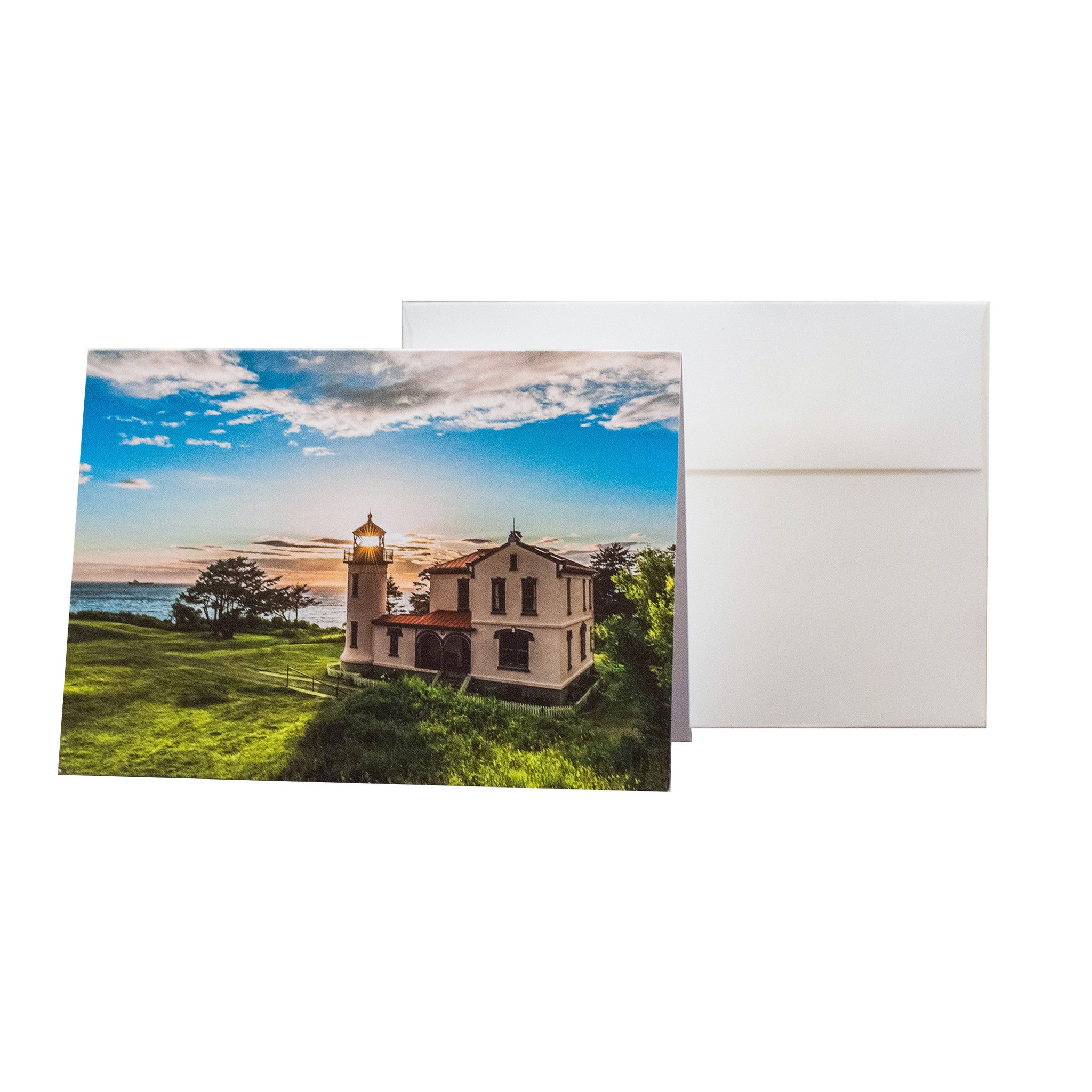 The Sun Sets Through a Decommissioned Lighthouse - 5 x 7 Notecard w/ Envelope - FREE SHIPPING