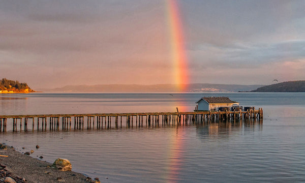 "Last Light Falls on the Whidbey Island Dockhouse - 32"" x 48"" x 1.25"" Canvas Print - Free Shipping"