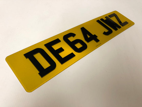 Next Gen 4D Road Legal Plastic Plate Yellow SINGLE