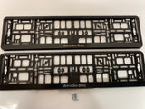 Mercedes Benz White Number Plate Surround Frames Pair