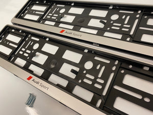 Audi Sport Silver Number Plate Surround Frames Pair