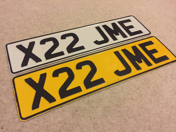 Short Road Legal Pressed Number Plate PAIR