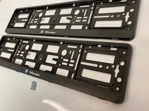 SINGLE Black VW Volkswagen Number Plate Surround Frame