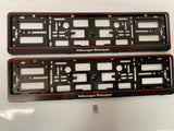 Red Vw Volkswagen Motorsport Number Plate Surround Frames Pair