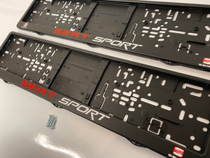 Seat Sport Number Plate Surround Frames Pair