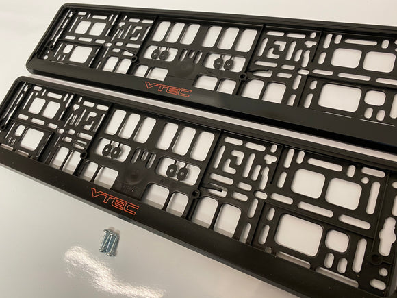 Honda VTEC Number Plate Surround Frames Pair