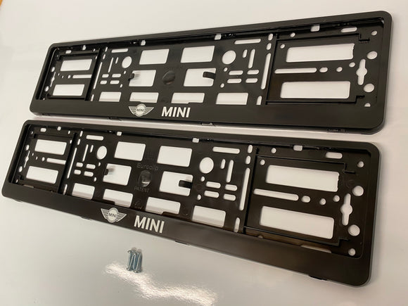 Black MINI Number Plate Surround Frames Pair