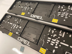 Opel Number Plate Surround Frames Pair