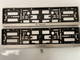 Silver VW Volkswagen Number Plate Surround Frames Pair