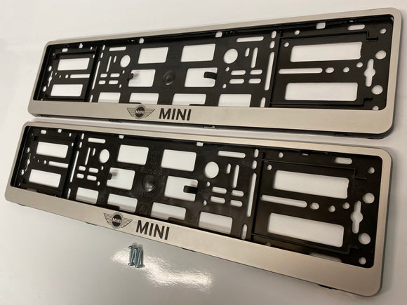 Silver MINI Number Plate Surround Frames Pair