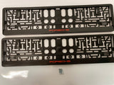 Red Porsche Number Plate Surround Frames Pair