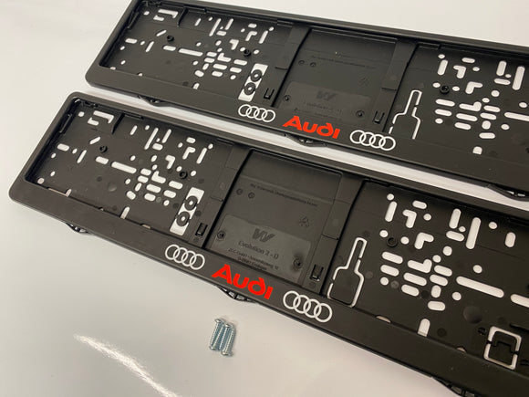 Audi Number Plate Surround Frames Pair