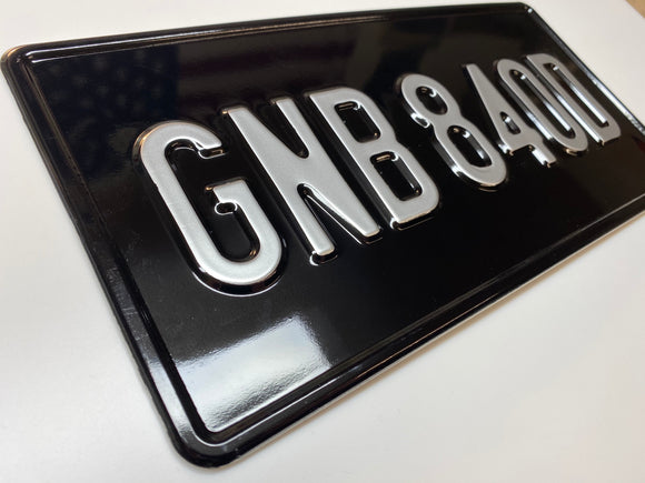 USA Style Gloss Black and Silver Pressed Show Plate