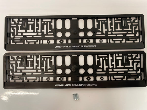Mercedes AMG Driving Performance Number Plate Surround Frames Pair