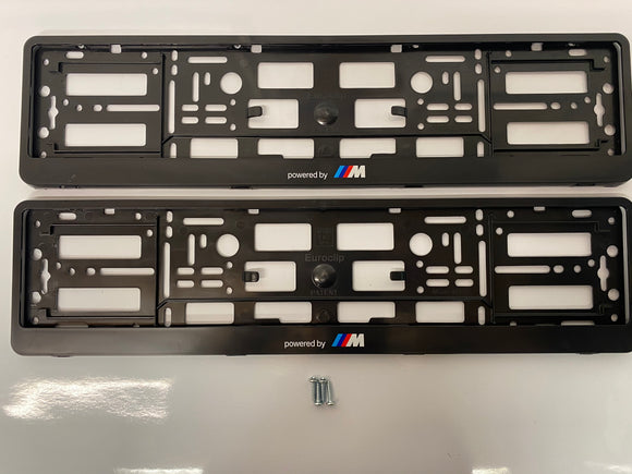 BMW Powered by M Number Plate Surround Frames Pair