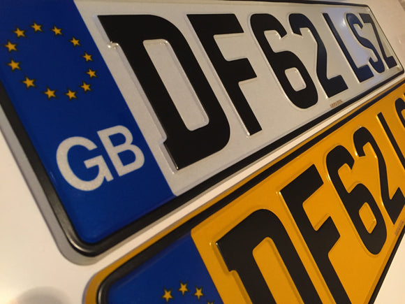 GB Road Legal Pressed Number Plate SINGLE WHITE